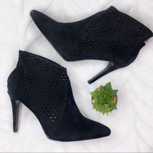 Zara Black Suede Pointed Toe Cage Booties Size 9